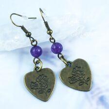 Stamped Flower Heart and Amethyst Brass Earrings - Handmade Jewelry - Spring