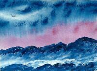 Original ACEO Acrylic Blue Mountains, Snow, Bird   by JUDITH BOSCH