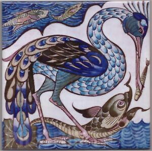 William de Morgan Heron & Fish Tile Fireplace Kitchen Bath Ceramic or Porcelain