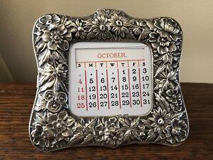 Kirk Repousse Sterling Silver Perpetual Desk Calendar PAT.1893