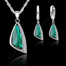 S925 Silver Green Austrian Cubic Zircon Pendant Necklace Earring Jewelry Set