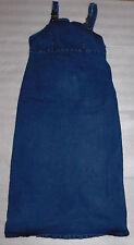 Duo Maternity Womens Blue Denim Stretch Full Length Form Fitting Dress Small