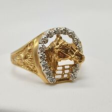 10k Yellow Gold Horse Diamond Accent Ring - Size 12 - Equestrian
