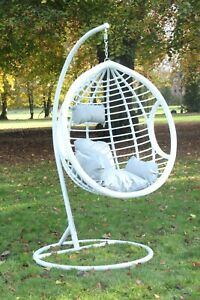 Swing Hanging Egg Chair White with Cushion Patio Garden Outdoor PE Rattan