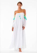 BNWT SUNDRESS VENUS WHITE AND TURQUOISE OFF THE SHOULDER BEACH MAXI DRESS