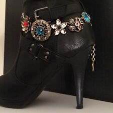 Boot Bling Jewelry Bracelet Gold Tone Flowers With Stones