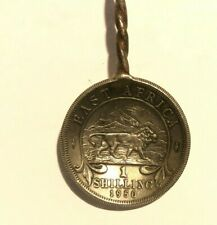 East Africa 1950 shilling coin spoon twisted stem hard stone finial 11 cm