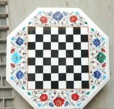 "18"" white marble chess table top center coffee inlay stone lapis handmade stone"