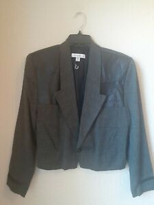 NEW Vintage 1980s Z Cavaricci Mens Green Check Fitted Short Blazer Jacket Size S
