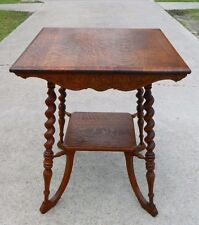 Solid Tiger Oak Rope Turned Center Table circa 1900