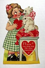 1920s Valentine's Day Mechanical Card Girl With Dog that Licks Moving Tongue