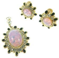 Vintage Faux-Opal & Rhinestone Clip On Earrings & Pendant Set