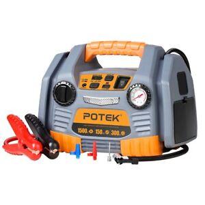 POTEK Battery Jump Starter Power Source:1500Peak/750 Instant Amps,300W Inverter