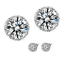 2 Carat Lab Created CZ Earring Set Brilliant Cut Solitaire 18K WHITE GOLD FILLED