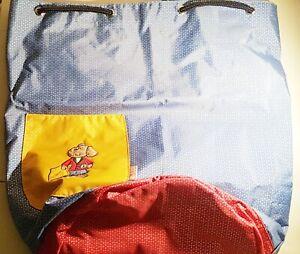 Sigikid Tragetasche für Kinder Blau Rot Umhängetasche Beuteltasche Bär NEUWERTIG