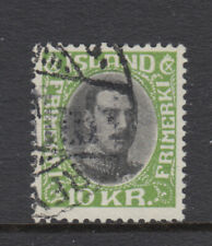 Iceland Sc 187 Christian X 10 kr Narrow Lines Very Fine Used