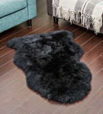 Genuine Real Australian Sheepskin Rug Single Pelt Black Sheepskin Rug Fur Throw