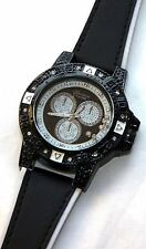 NEW Geneva 3251 Men's Classy Black Leather Floating Crystals Bling Large Watch