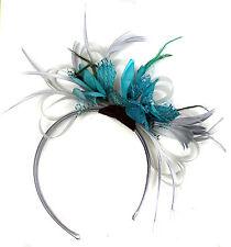 251aeab0df132 Customised Feather Hair Fascinator on Headband Wedding Royal Ascot Races  Bespoke