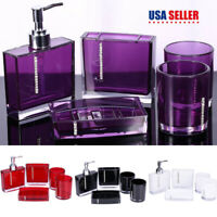5Pcs Bathroom Accessories Set Cup Toothbrush Holder Soap Dish Bottle Acrylic
