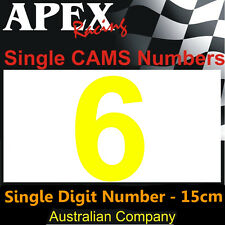 CAMS Window Number 6 Sticker - Single Number 15cm - Race Rally Drift - Yellow