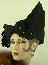 VINTAGE HAT 1940s SCHIAPARELLI ORIG. AVANT GARDE DARK BLUE SCULPTED FELT DAY HAT