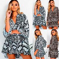 New Ladies Leopard Print Dress Party Casual Mini Swing Dress Long Sleeve 8-16