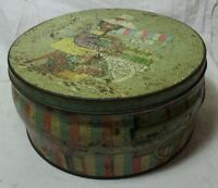 OLD VINTAGE UNIQUE GIRLS PRINT TIN ROUND BOX COLLECTIBLE MADE IN ENGLAND