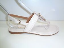 Coach Size 8 M CASSIDY White Patent Leather Split Toe Sandals New Womens Shoes
