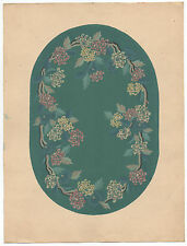 1920s Chinese Rug Design Painting on Paper with Floral Motif