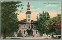 Postcard Hanford CA Grammar School horse and buggy bell tower Benham Co Unposted