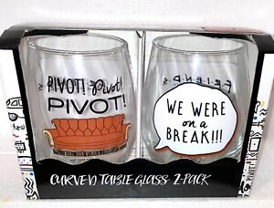 FRIENDS TV SHOW  set of 2 GLASSES WE WERE ON A BREAK AND PIVOT