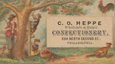 Philadelphia PA * C.O. Heppe Confectionary Trade Card c1880s * 608 N. 2nd St.