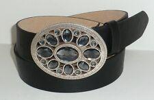 WOMEN DESIGNER BRAND BLACK LEATHER DRESS BELT WITH CRYSTAL BUCKLE L 36