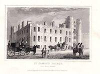 1840 Victoriano Estampado ~ St JAMES'S Palacio ~ Veil Pall Mall Londres Caballo