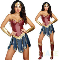 Súper héroe Mujer Maravilla Cosplay Disfraz de Halloween Vestido Mujer Adulto