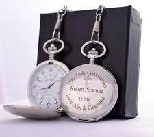 LASER Engraved FIRST HOLY COMMUNION Design Pocket Watch Silk Gift Box
