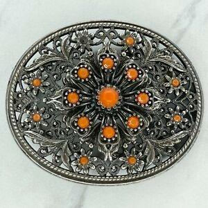Silver Tone Orange Rhinestone Flower Floral Belt Buckle