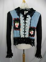 Twiggy London Sz Small Women's Jacket Black Blue Denim Crochet