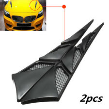 1Pair Universal ABS Car Hood Side Air Intake Flow Vent Cover Decorative Stick BK