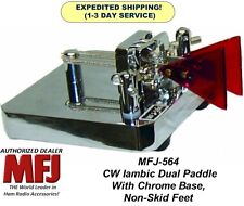 MFJ 564 Ham Radio CW Iambic Dual Paddle With Chrome Base, Non-Skid Feet (NEW)