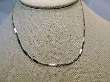 "Vintage Hammered & Flat Link Necklace, 15"", Silver Tone, 2.5mm, 1980's"
