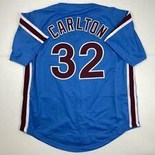 New STEVE CARLTON Philadelphia Blue Custom Stitched Baseball Jersey Size Mens XL