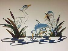 Cranes At Water Coastal Scene Nautical Metal Decor Lake Seaside Bird 3D Wall Art