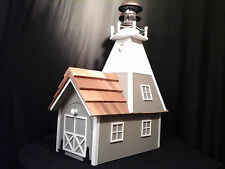 Amish Homemade Solar Nautical Lighthouse Rural Mailbox Clay with White Trim