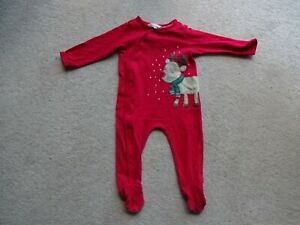 Baby's John Lewis Red Reindeer Christmas Cotton Sleepsuit age 6-9 Months