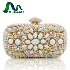 MILISENTE Women Pearl Purse Evening Bag Ivory Pink Beaded Wedding Clutch Handbag