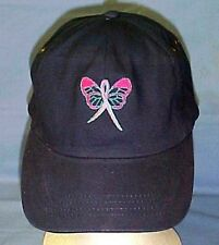 Pink Ribbon Butterfly Baseball Hat Navy Blue Cap Breast Cancer Awareness Support