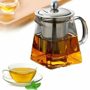 Tea Kettle Heat Resistant Glass Teapot With Stainless Steel Tea Infuser Filter