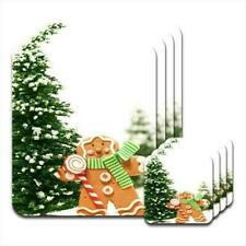 Gingerbread Man Holding Candy Cane By Tree Set of 4 Placemats & Coasters